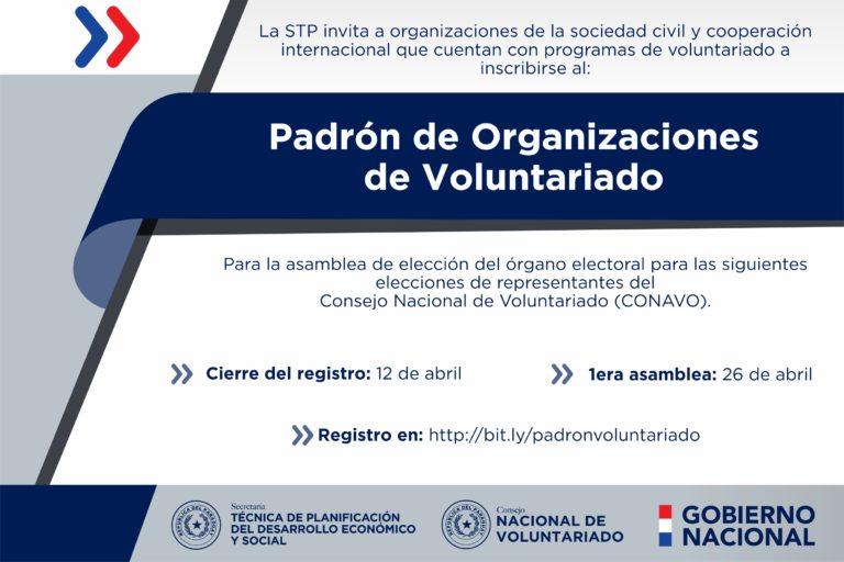 Convocan a organizaciones para inscribirse y elegir representantes ante el Consejo Nacional de Voluntariado
